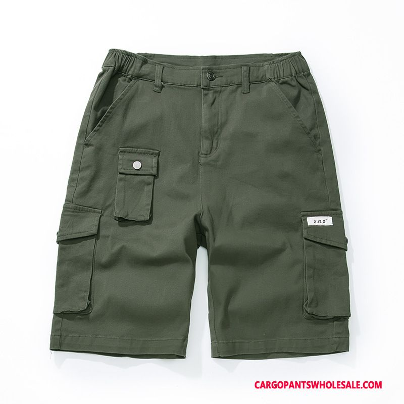 Cargo Shorts Male Army Green Green Solid Color Tide Brand Men Loose Shorts Pants