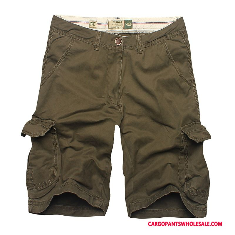 Cargo Shorts Male Army Green Leisure Cotton Multi-pocket Straight Shorts