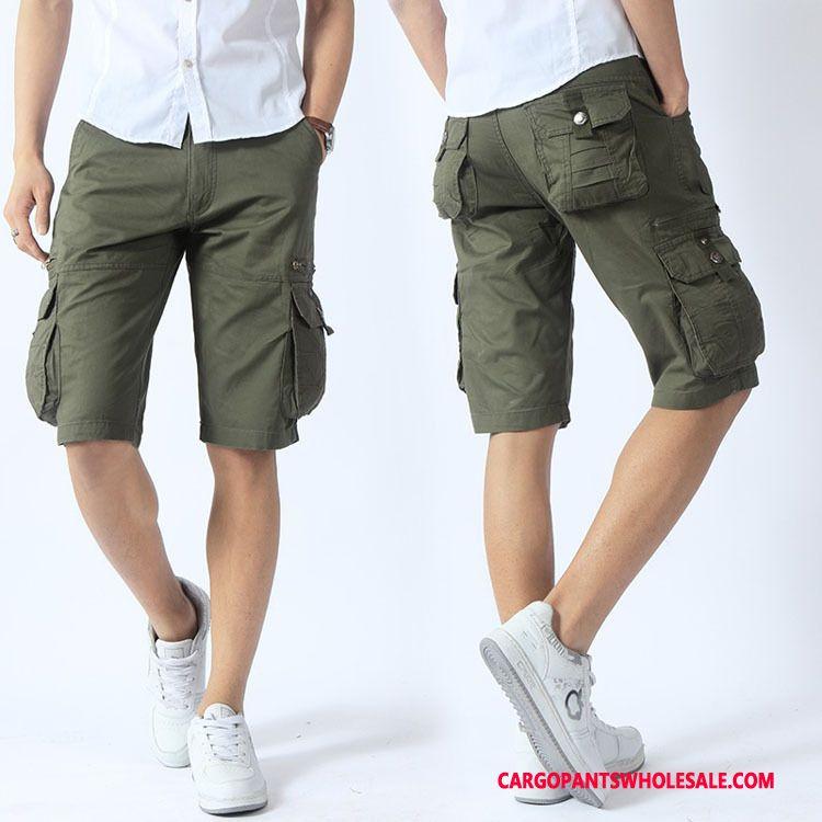 Cargo Shorts Male Army Green Medium Pants Men Shorts Cargo Pants Loose