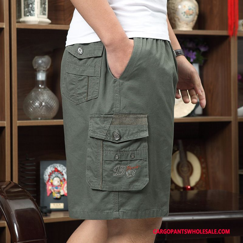 Cargo Shorts Male Army Green Summer Shorts Pants Elastic Cargo