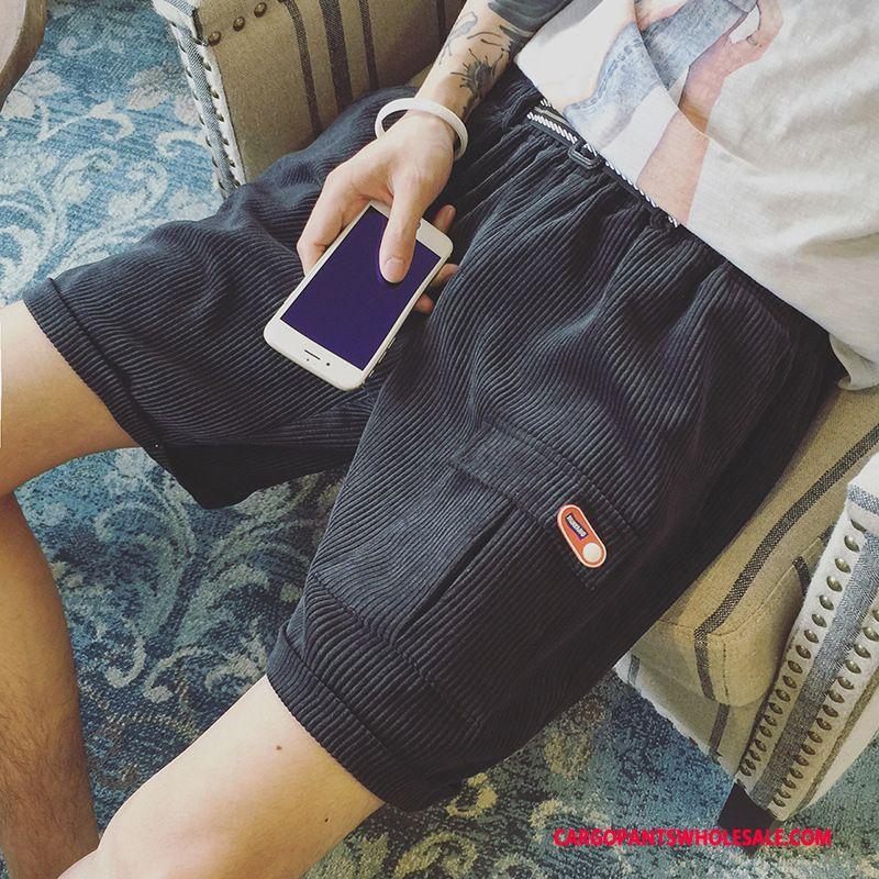 Cargo Shorts Male Black Beach Leisure Pants Large Size Retro