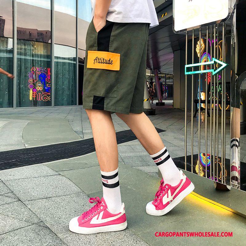 Cargo Shorts Male Black Color Matching Summer Shorts Hip Hop Cargo Pants