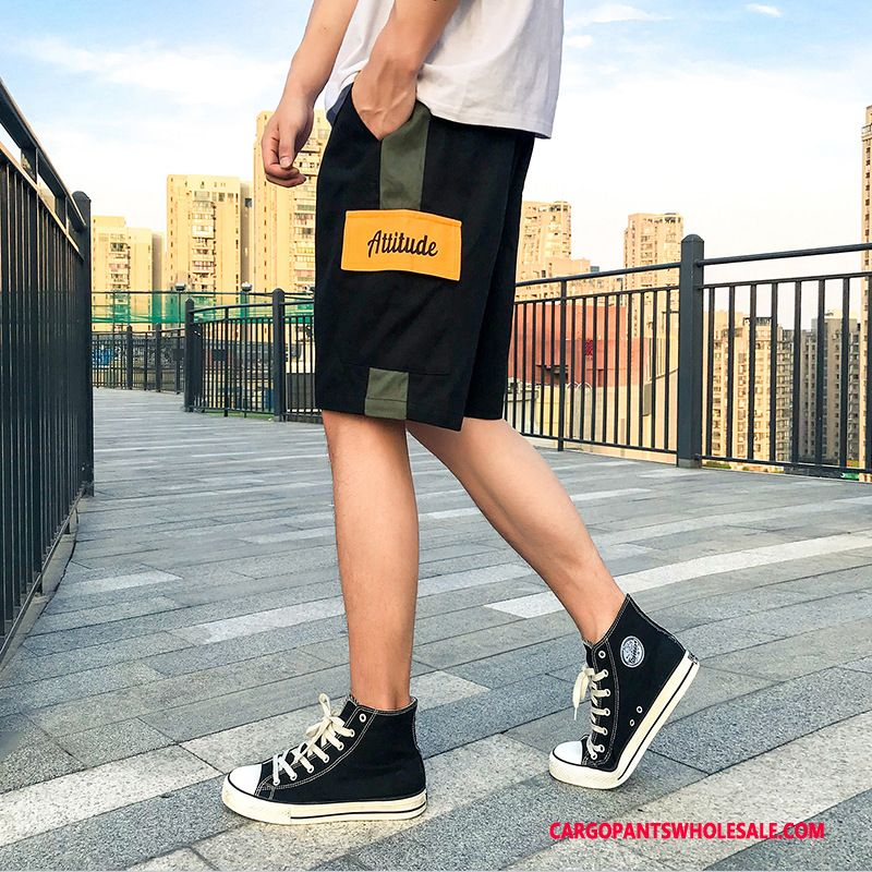Cargo Shorts Male Black Color Matching Summer Shorts Hip Hop Cargo Pants