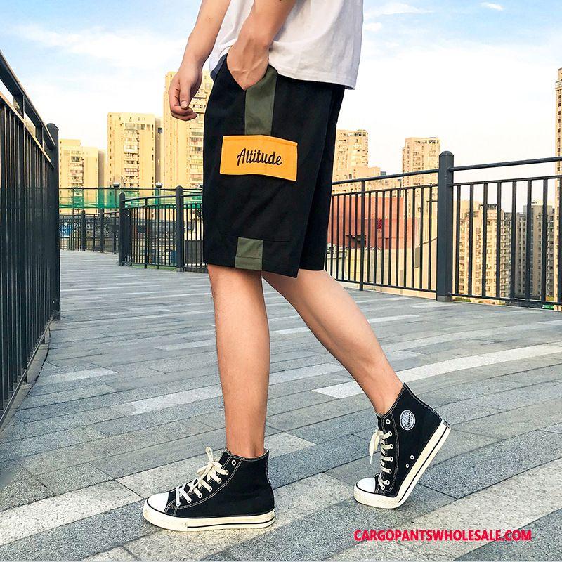 Cargo Shorts Mænd Sort Hip-hop Trend Fritids Bukser Brede