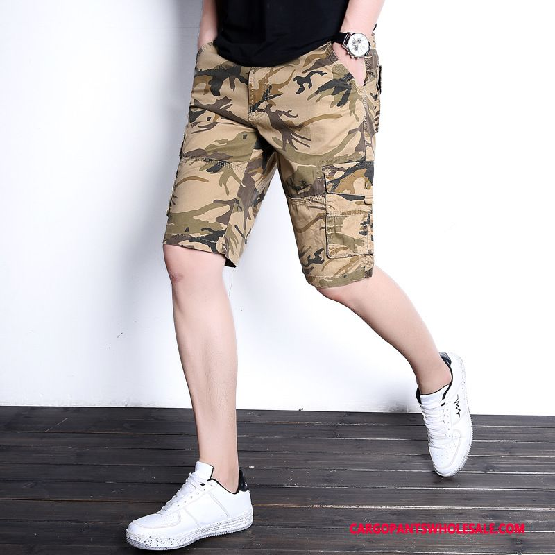 Cargo Shorts Male Black Explosion Thin Section Multi-pocket Cotton Shorts