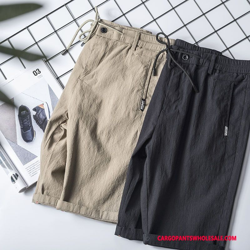 Cargo Shorts Male Black Green All Match Pants Men Cotton And Linen Large Size Cargo