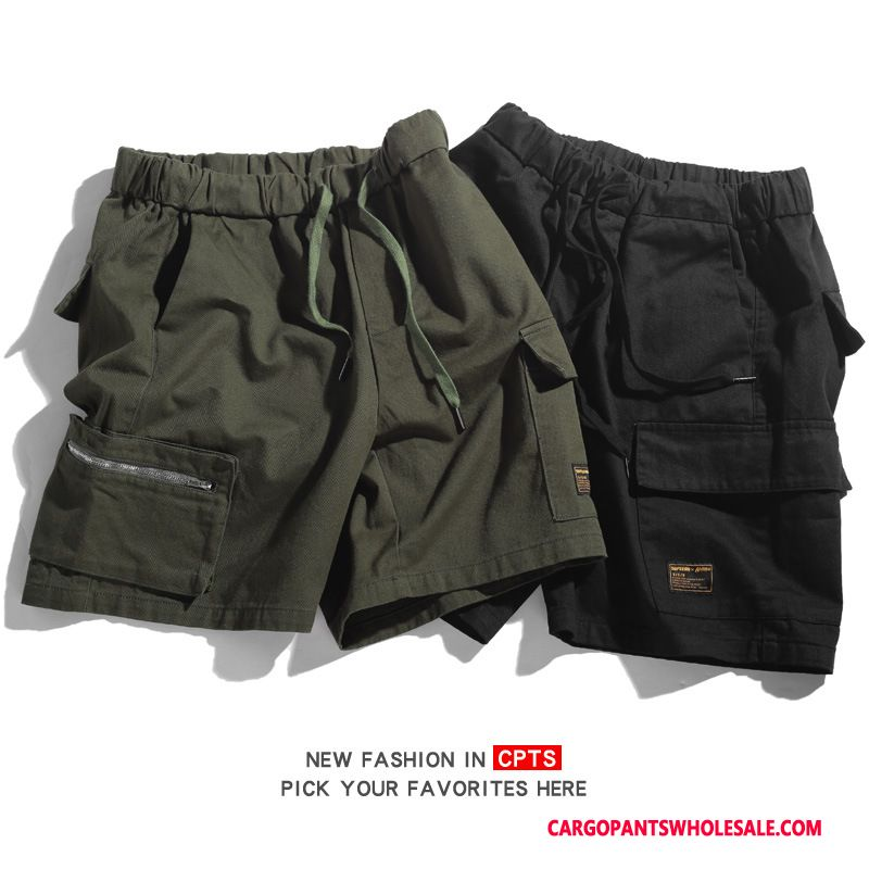 Cargo Shorts Male Black Pocket Pants Casual Pants Cargo Summer