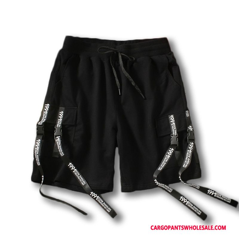Cargo Shorts Male Black Shorts Street Dance Men Tide Leisure Pants