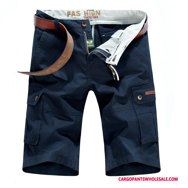 Cargo Shorts Male Blue Black Casual Pants Middle Aged Men Men Loose Shorts The New