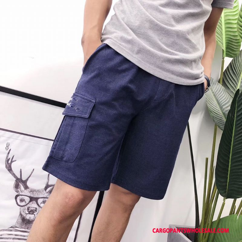 Cargo Shorts Male Blue Classic Leisure Twill Cargo Shorts