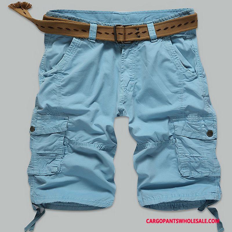 Cargo Shorts Mænd Blå Flere Lommer Cargo Sommer Brede Udendørs