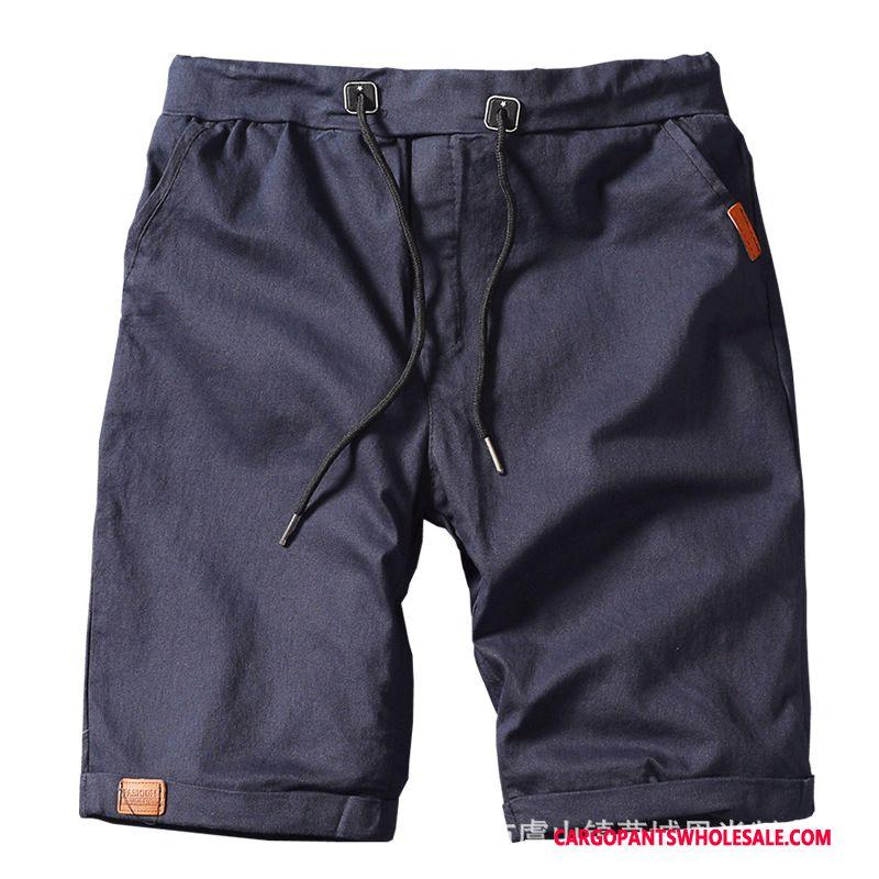 Cargo Shorts Male Blue Summer Simple Motion Medium Shorts