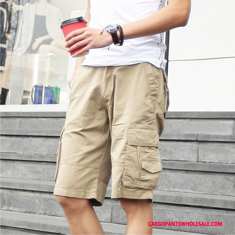 Cargo Shorts Male Brown Europe Large Size Men Solid Color Leisure The New