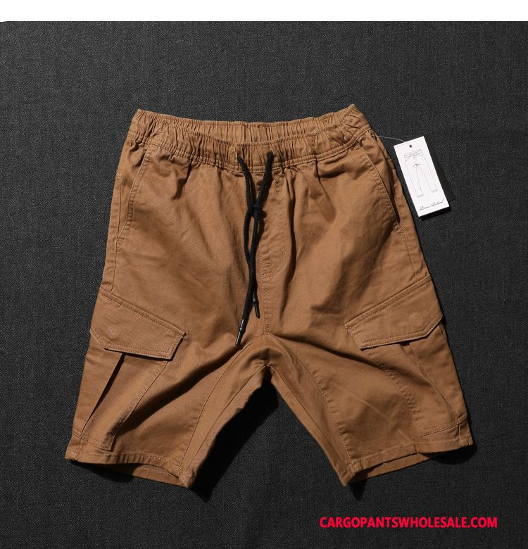 Cargo Shorts Male Brown Shorts Medium Men Leisure Cargo Multi-pocket
