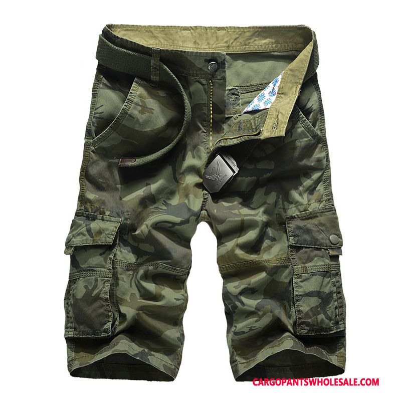 Cargo Shorts Male Camouflage Army Green Shorts Leisure Cargo Pants Cotton Outdoor