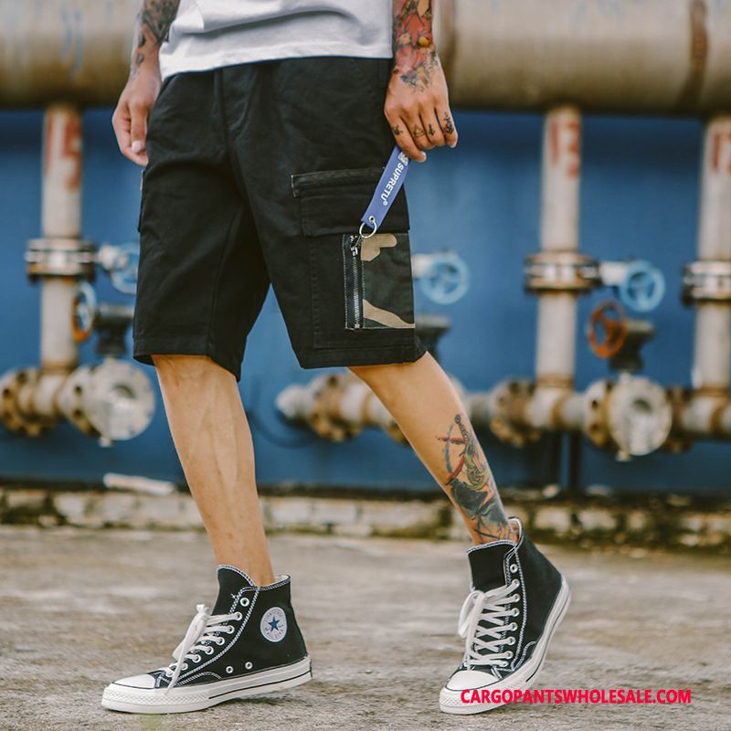 Cargo Shorts Mænd Camouflage Sort Cyan Trendy Trend Bukser Unge Shorts
