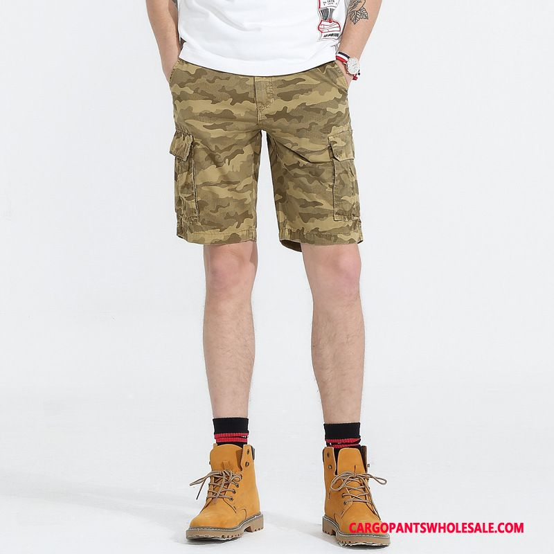 Cargo Shorts Male Camouflage Gray Cotton Shorts Cargo Summer Multiple Pockets