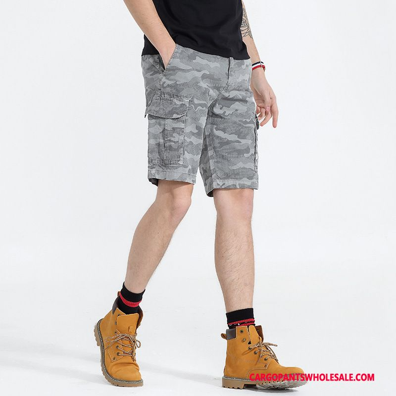 Cargo Shorts Male Camouflage Gray Cotton Shorts Cargo Summer Multiple Pockets