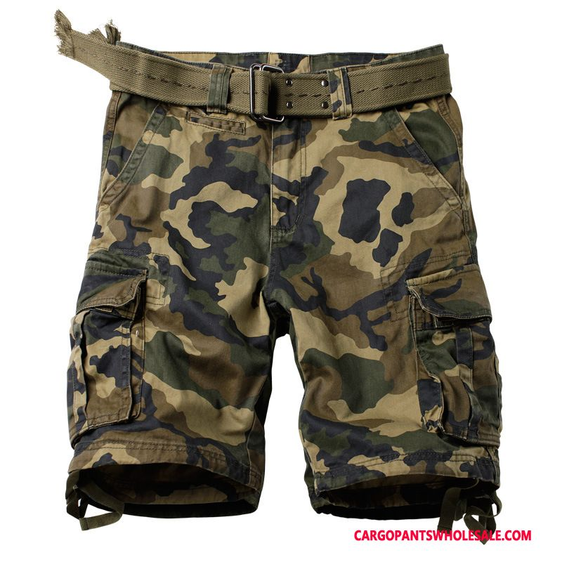 Cargo Shorts Male Camouflage Green Casual Pants Military Multi-pocket Outdoor Loose
