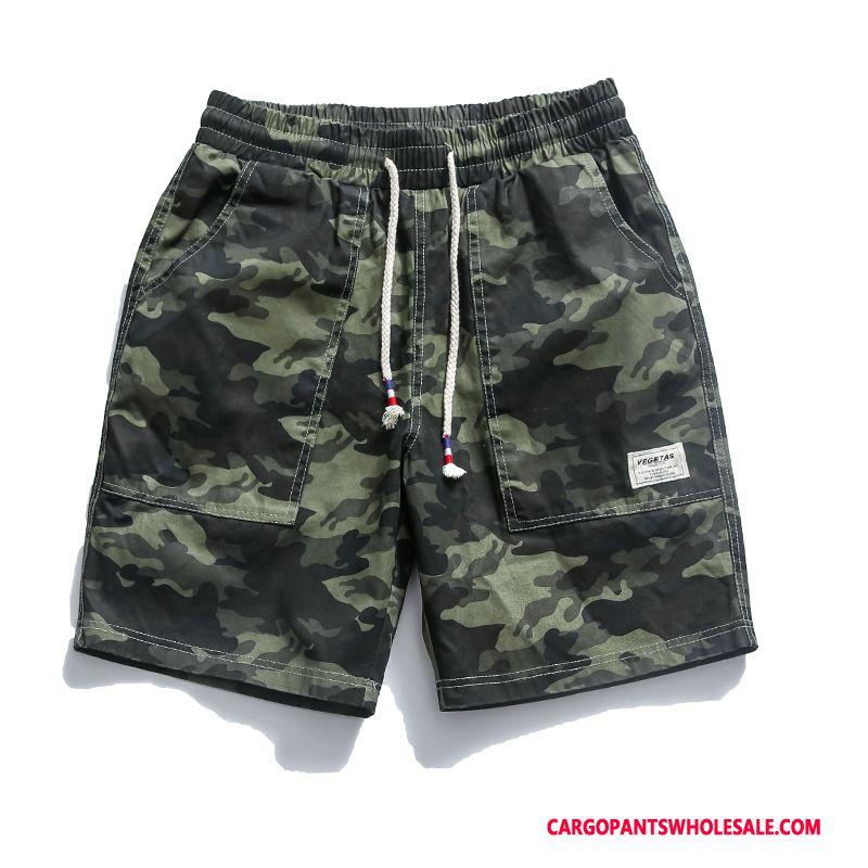 Cargo Shorts Mænd Camouflage Grøn Sport Bukser Herre Trendy Brede Shorts