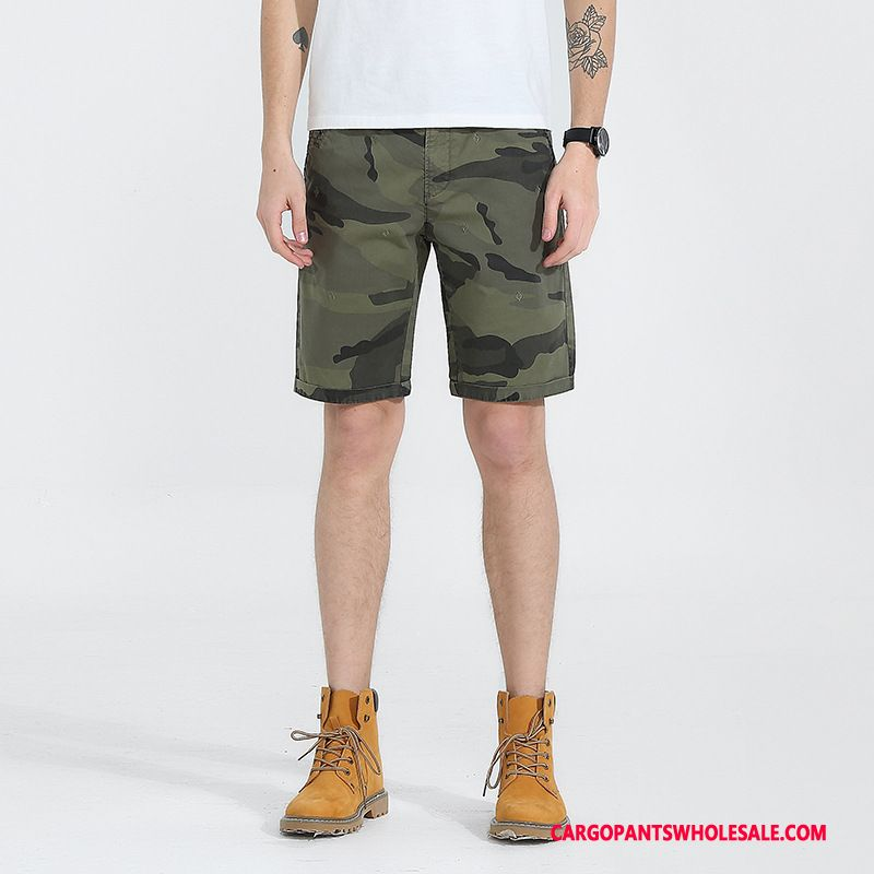 Cargo Shorts Mænd Camouflage Grøn Shorts Ny Trendy Bomuld Bukser