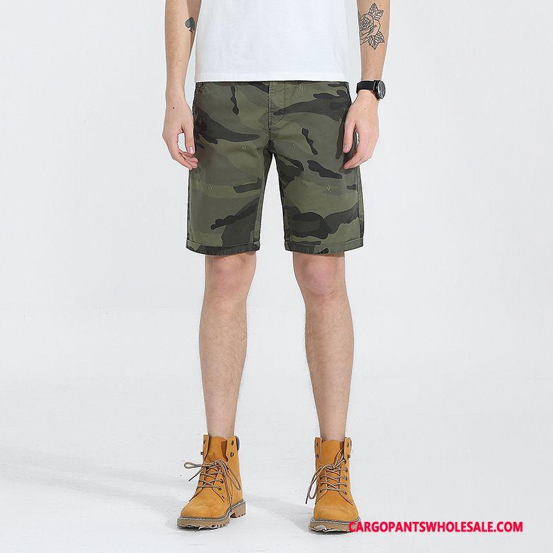 Pantalones Cortos Cargo Masculino Camuflaje Verde Algodón Shorts Bordados Pantalones Cortos Casuales