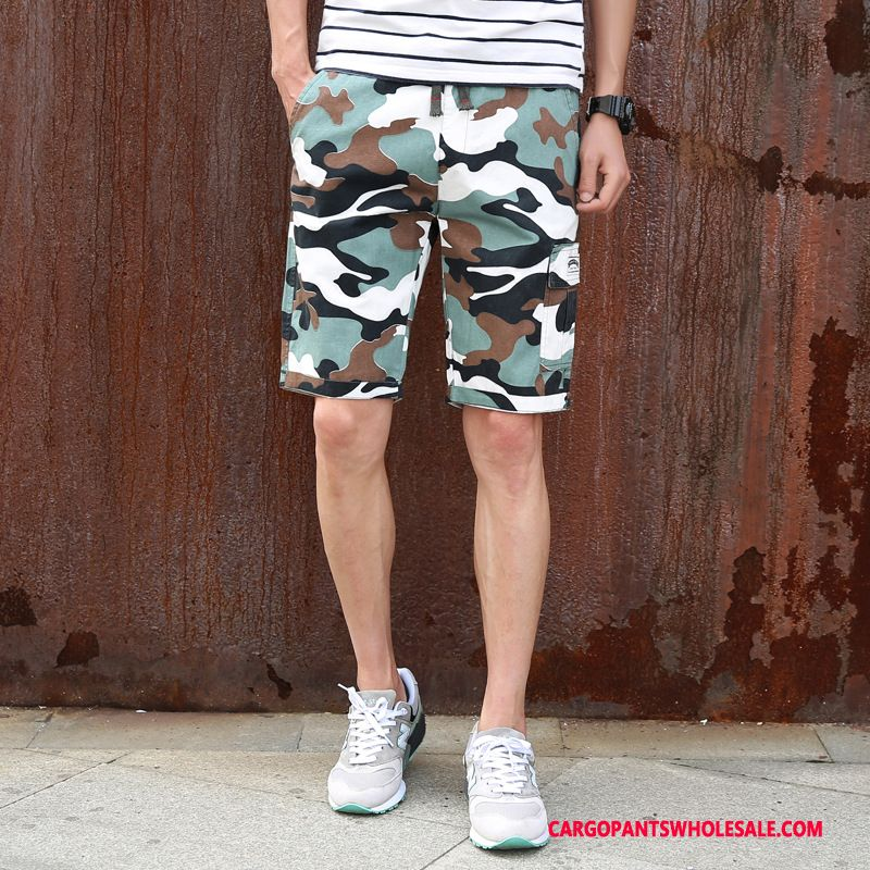 Cargo Shorts Male Camouflage Khaki Pants Leisure Men Motion Medium Cotton