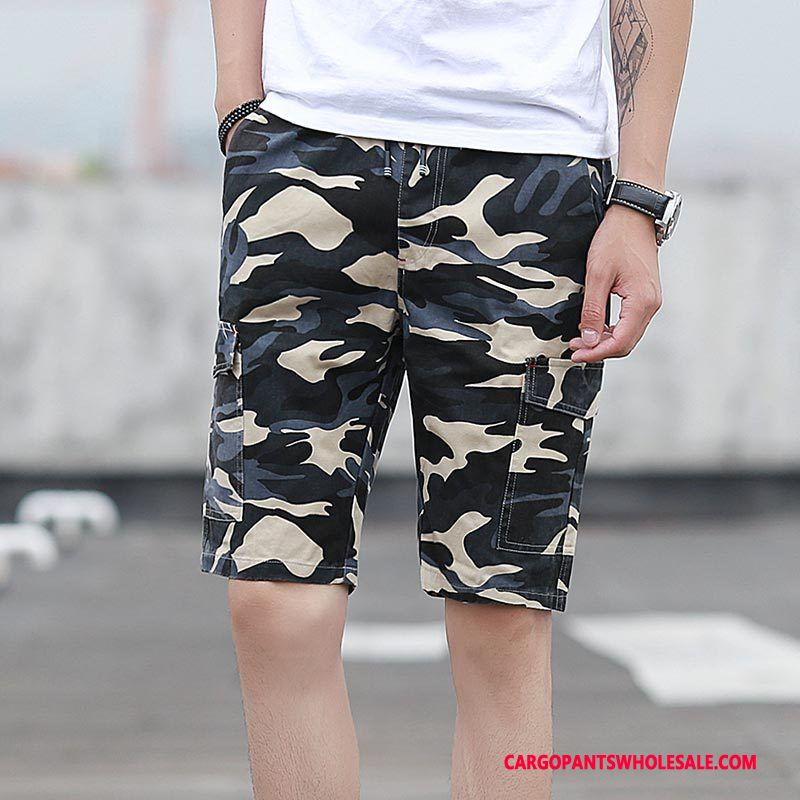 Cargo Shorts Male Camouflage Medium Straight Motion Casual Pants Summer