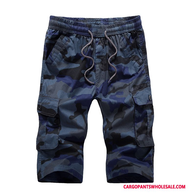 Cargo Shorts Male Camouflage Navy Blue Cargo Shorts Men The New Medium Summer