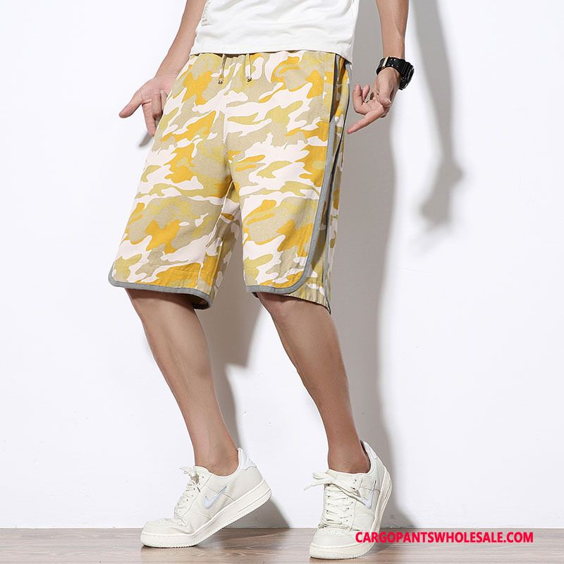 Cargo Shorts Male Camouflage Yellow Green Large Size Shorts Printing Summer The New