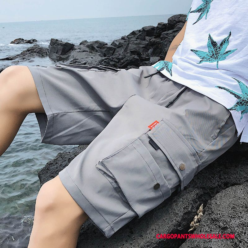 Cargo Shorts Male Gray Beach Shorts Men Cargo The New Multi-pocket