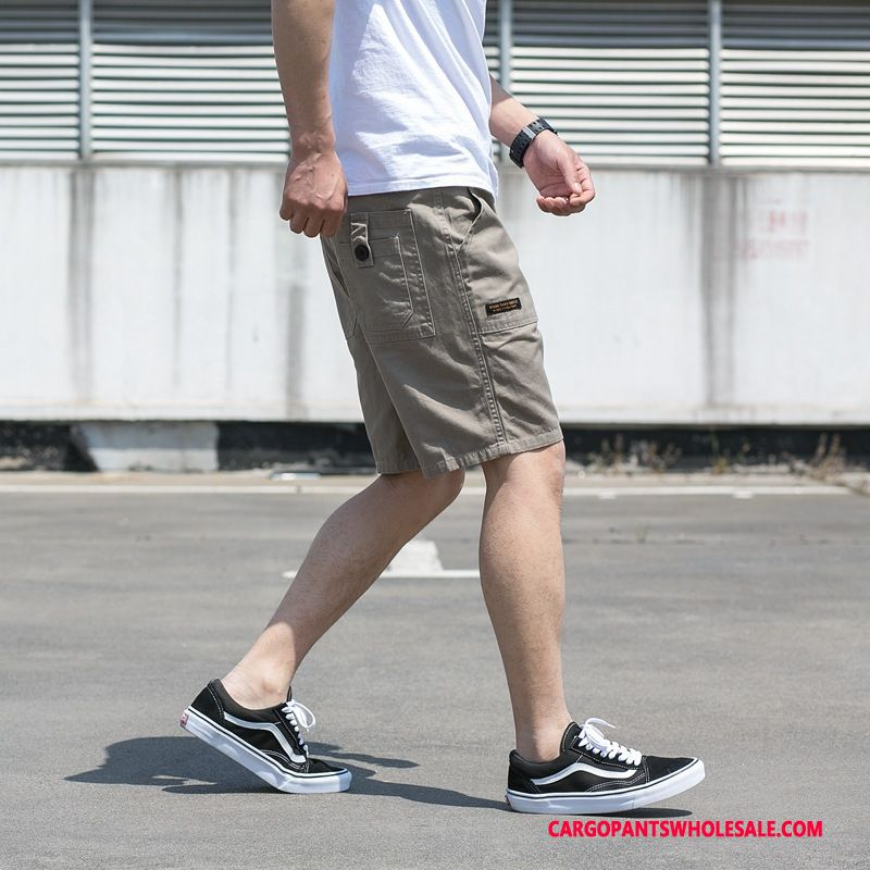 Cargo Shorts Male Gray Cargo Pants All Match Cotton Tide Leisure