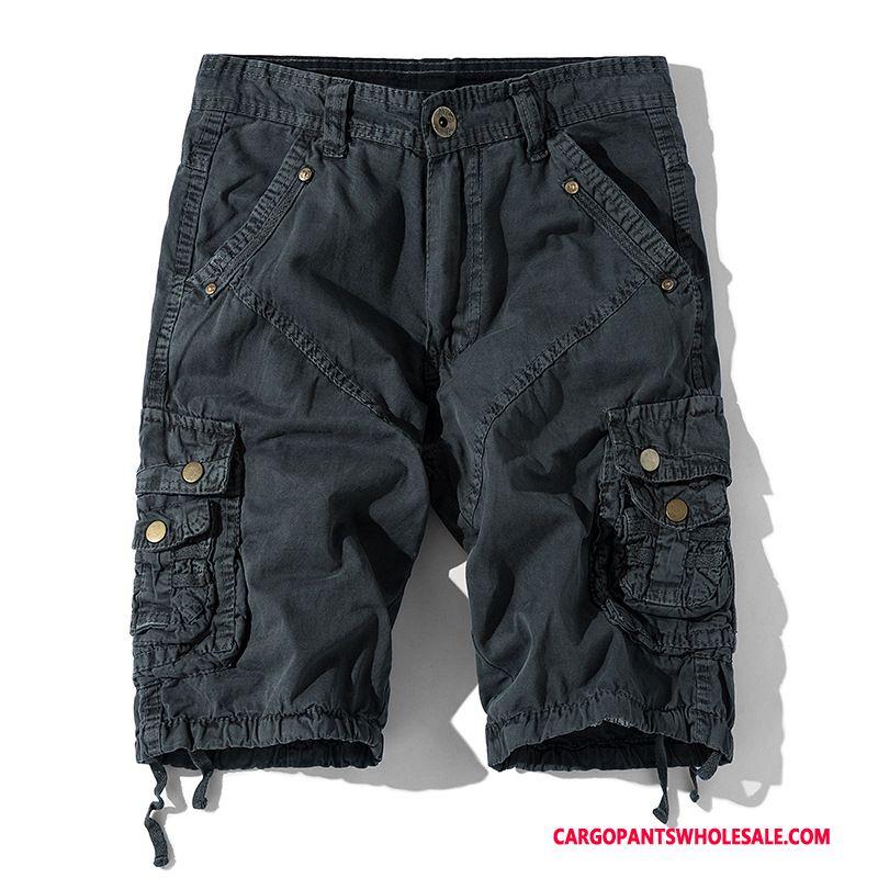 Cargo Shorts Male Gray Cargo Pants Summer Men Loose Multiple Pockets Leisure