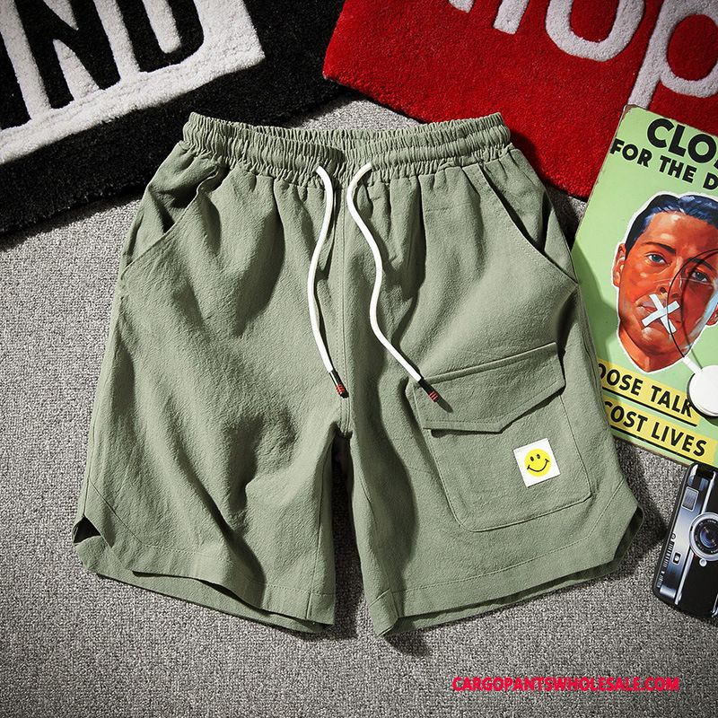 Cargo Shorts Male Gray Shorts Hot Pants Simple Cotton And Linen Handsome