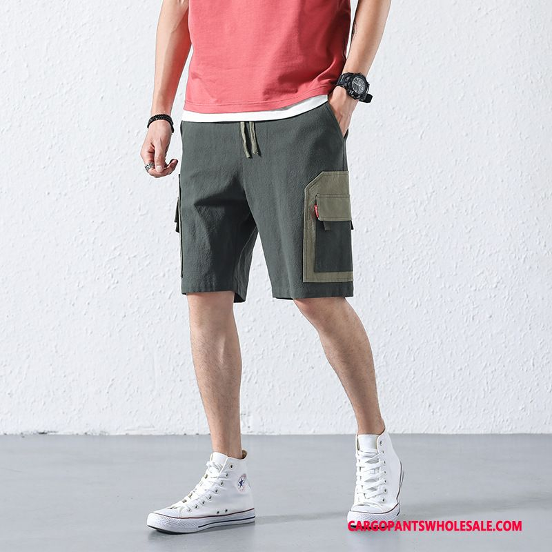 Cargo Shorts Male Gray Shorts Original Cargo Student Tide Brand