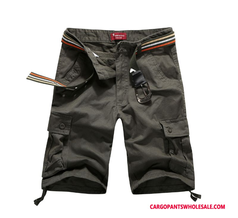 Cargo Shorts Male Gray Straight Solid Color Medium Pants Summer