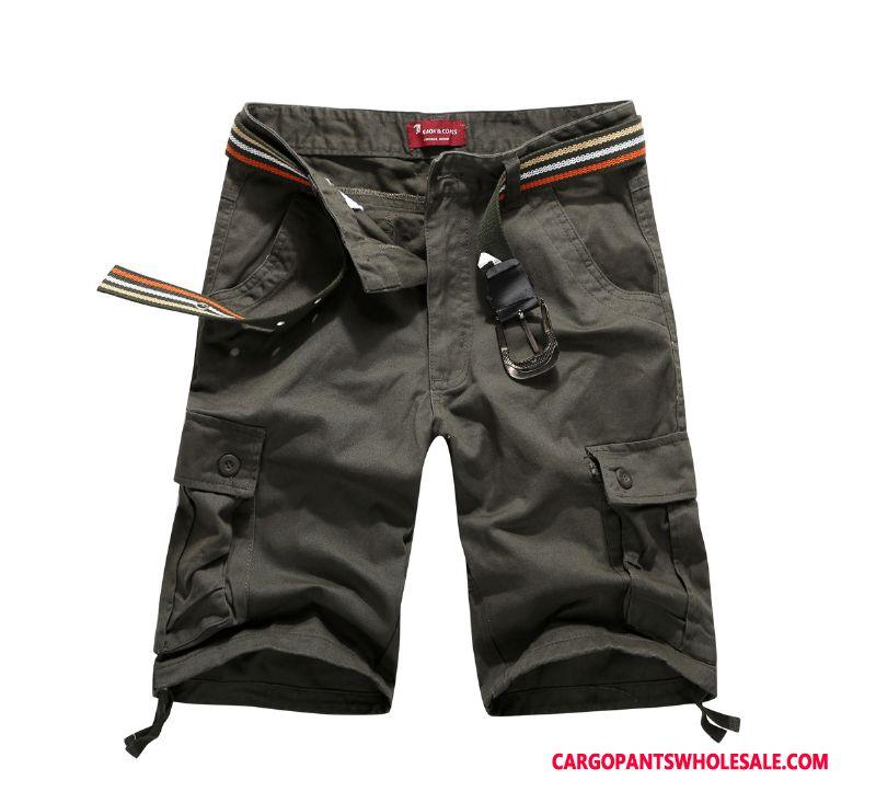 Cargo Shorts Mænd Grå Fritids Lige Sommer Shorts Strand
