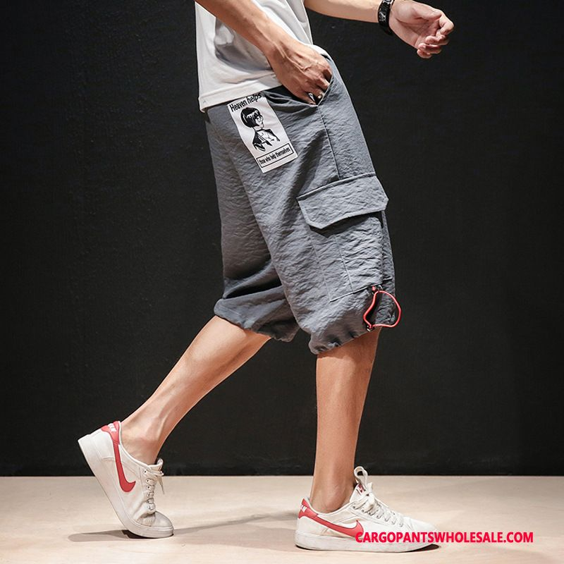 Cargo Shorts Male Gray Summer Chinese Style Men Capri Pants Harlan Leisure