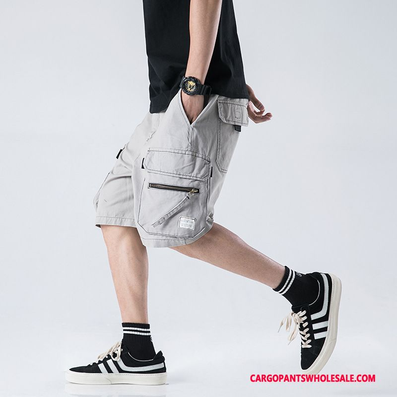 Cargo Shorts Male Green Gray Cargo Multi-pocket The New Casual Pants Tide Brand