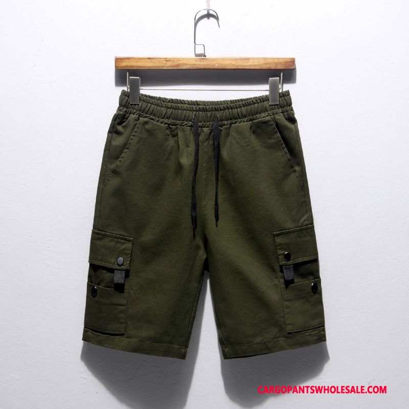 Cargo Shorts Male Green Green The New Juvenile Men Solid Color Trend Leisure