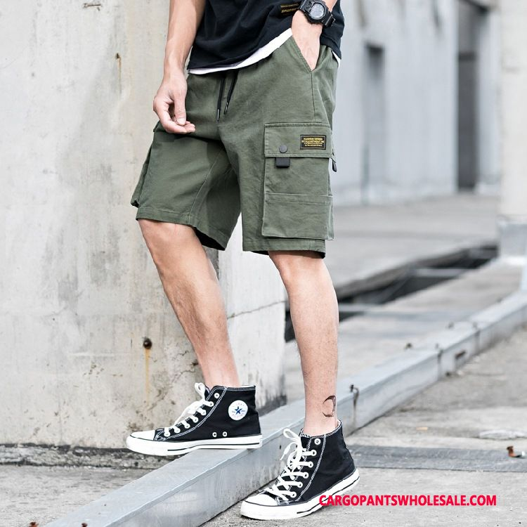 Cargo Shorts Male Green Green The New Tide Brand Leisure Loose Summer