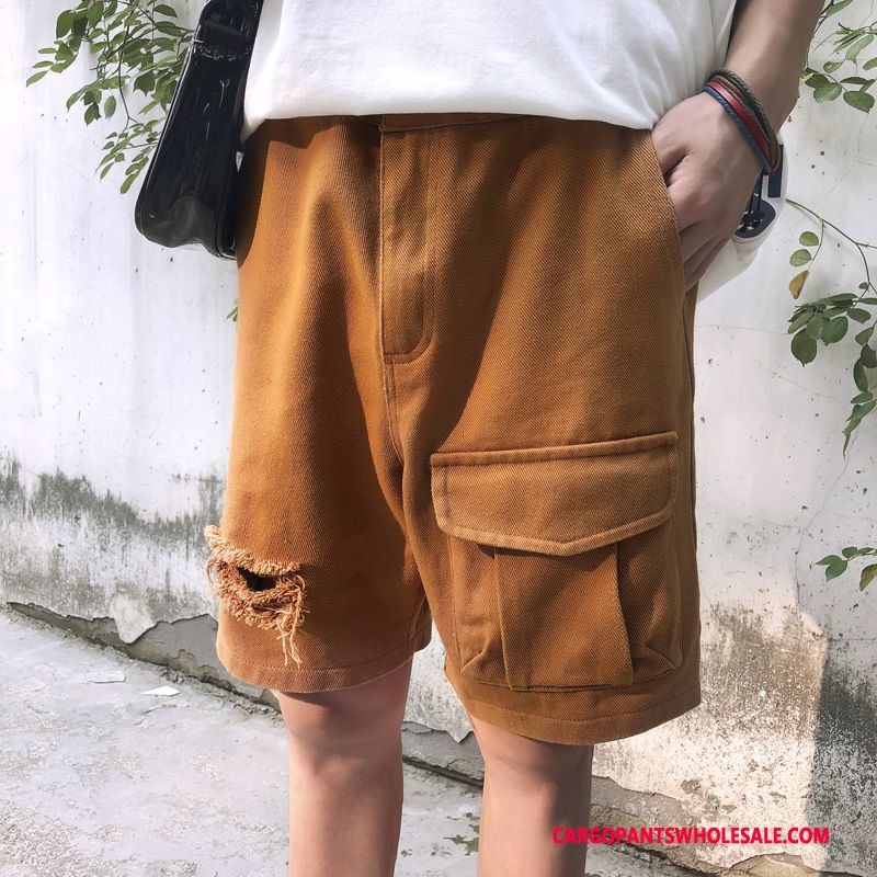 Cargo Shorts Male Green Hole Big Pocket Men Cargo Pants Summer The New