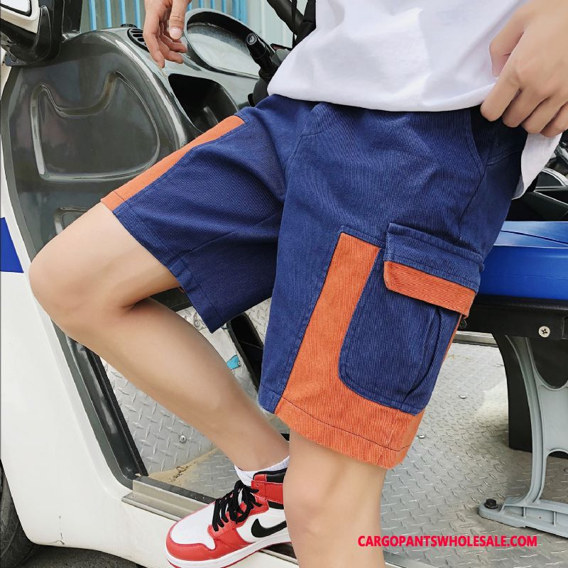 Cargo Shorts Male Green Shorts Trend Men Multi-pocket Cargo Pants