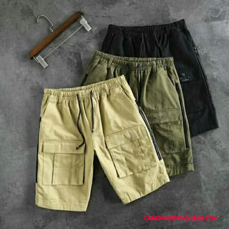 Cargo Shorts Male Green Summer Big Pocket Shorts Trend Loose