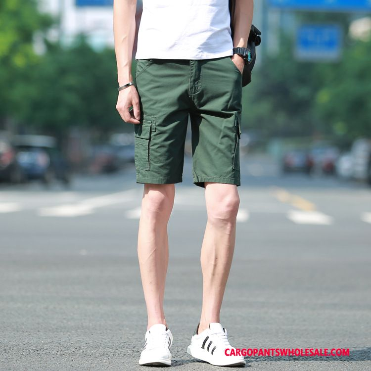 Cargo Shorts Male Green The New Pants Men Leisure Shorts Multi-pocket