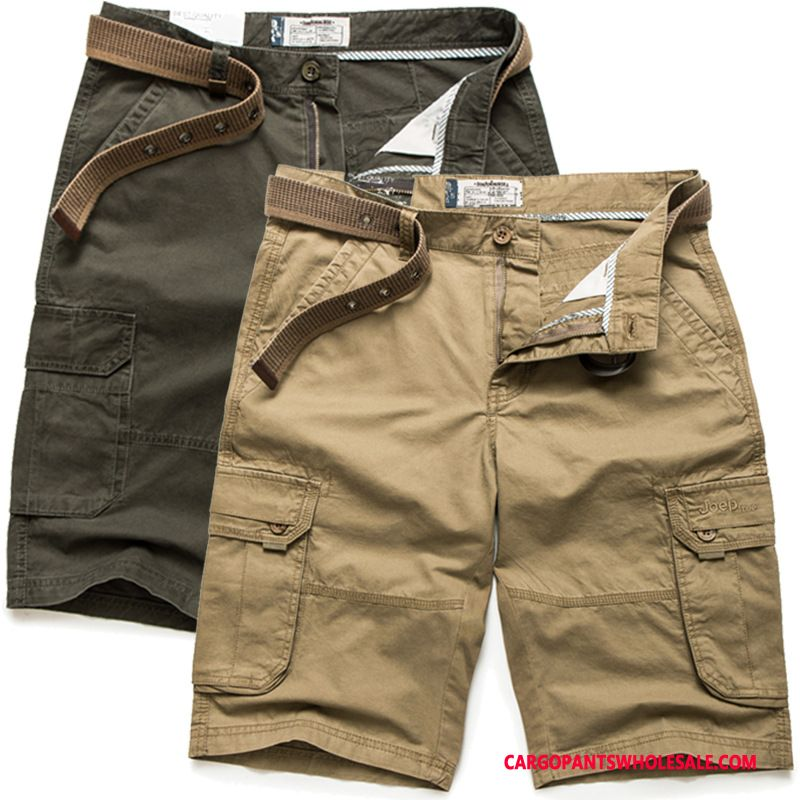 Cargo Shorts Male Khaki Cargo Pants Large Size Men Leisure Medium Summer