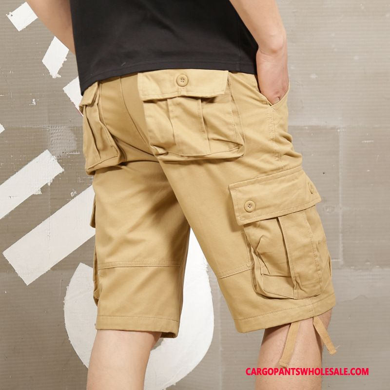 Cargo Shorts Male Khaki Casual Pants Large Size Men Cargo Multiple Pockets Medium