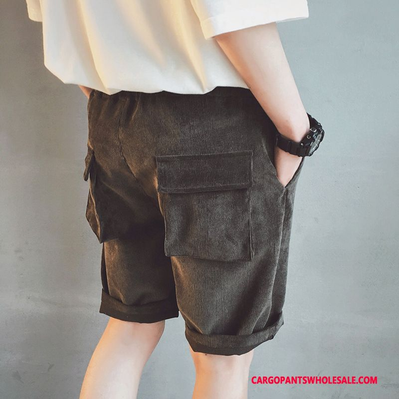 Cargo Shorts Male Khaki Green Loose Shorts The New Corduroy Tide