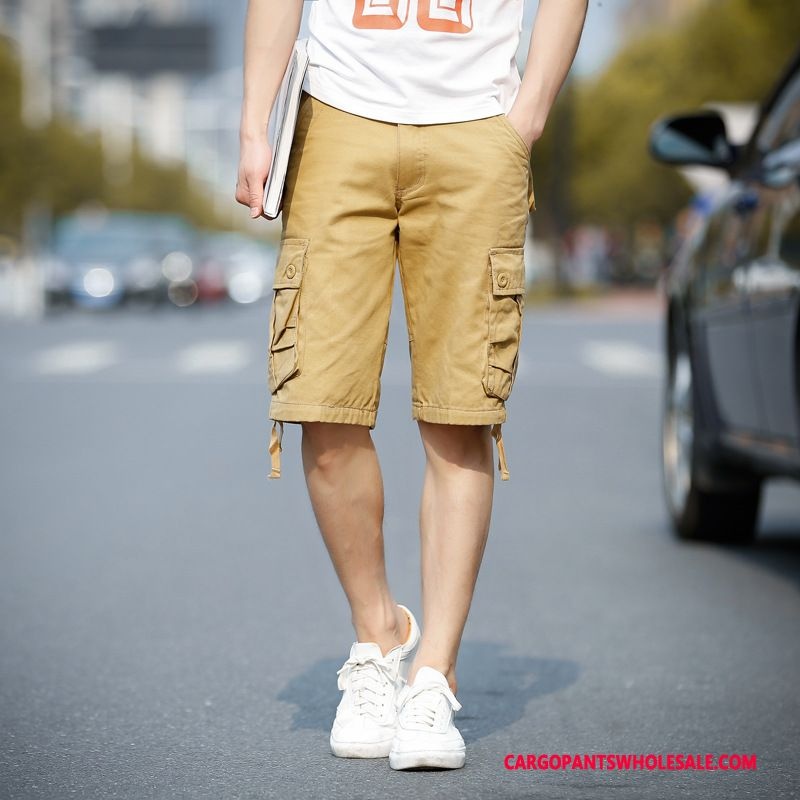 Cargo Shorts Male Khaki Green Medium Tide Men Pants Summer Cargo Pants