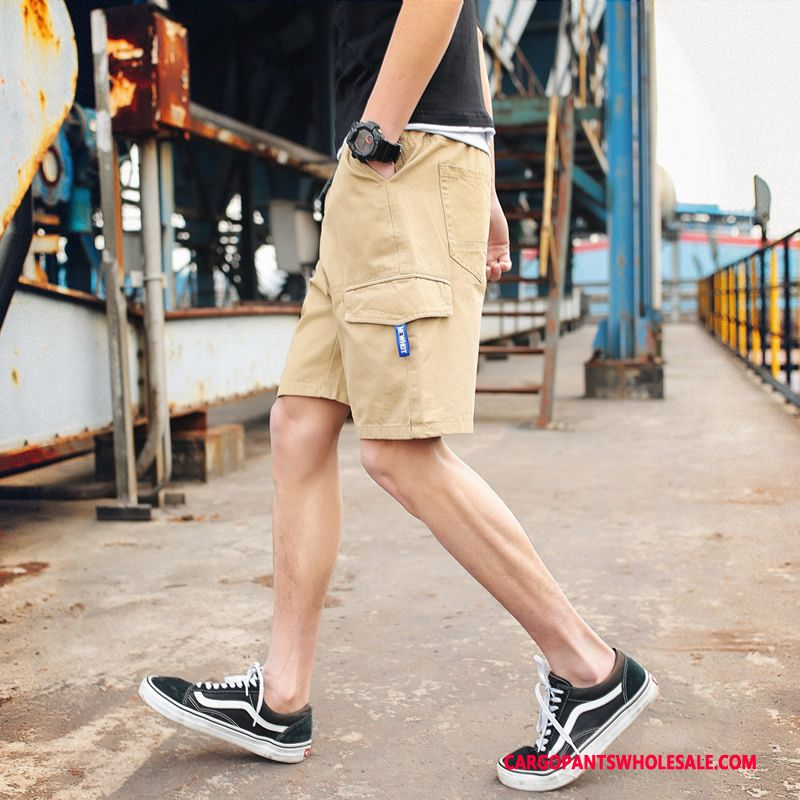 Cargo Shorts Male Khaki Green Pants Outdoor Juvenile Cargo Shorts